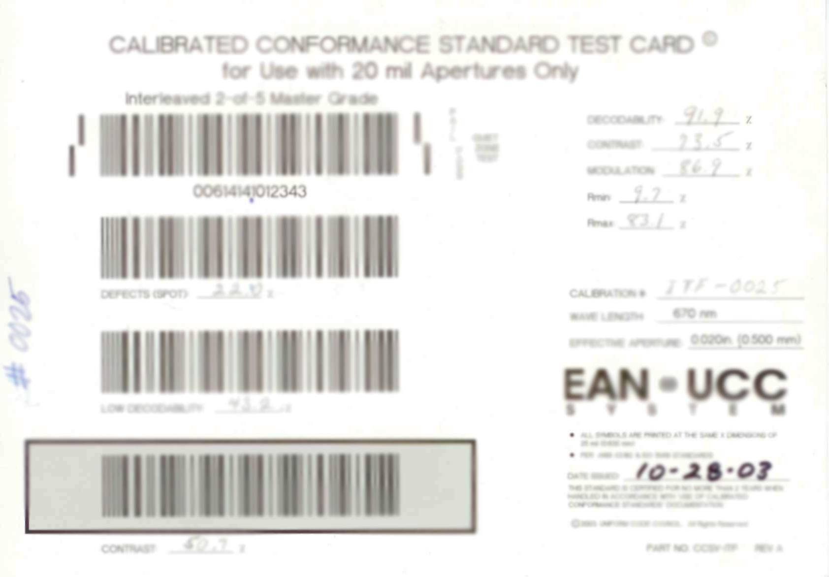 20 mil Calibration Card