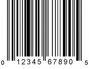 A UPC-A symbol, one of the 6 types of Universal Product Code Symbols.